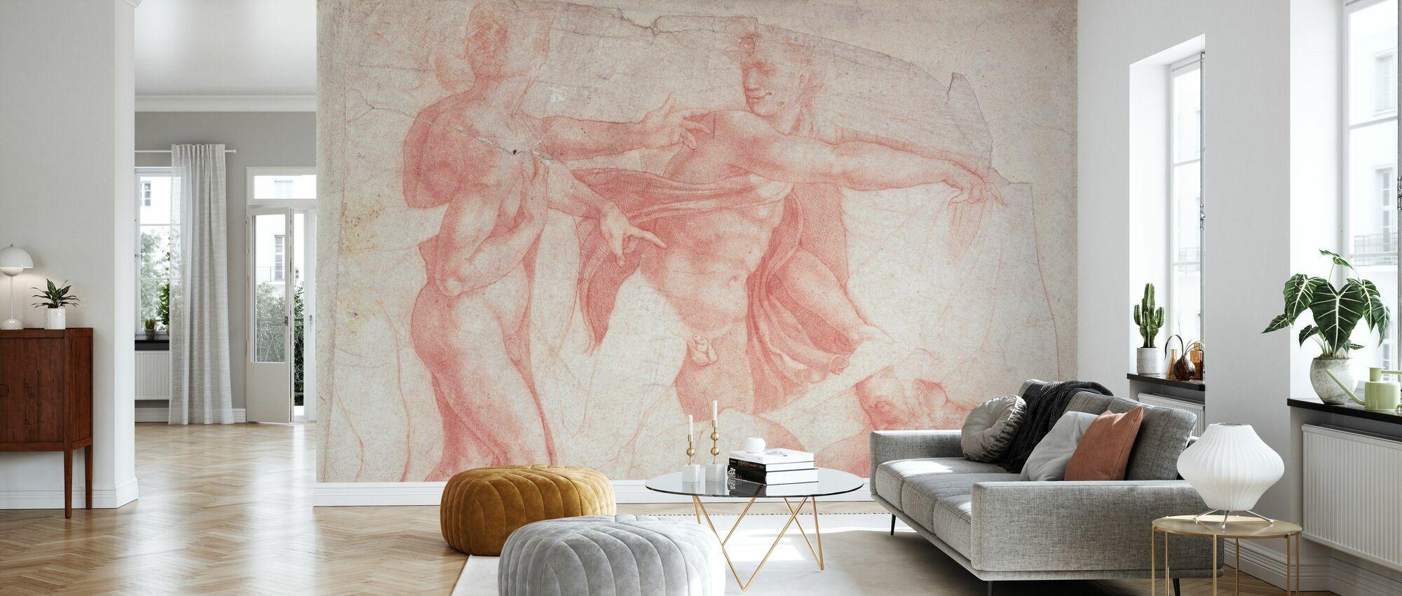 Studies van mannelijke naakten - Michelangelo Buonarroti - Behang - Woonkamer