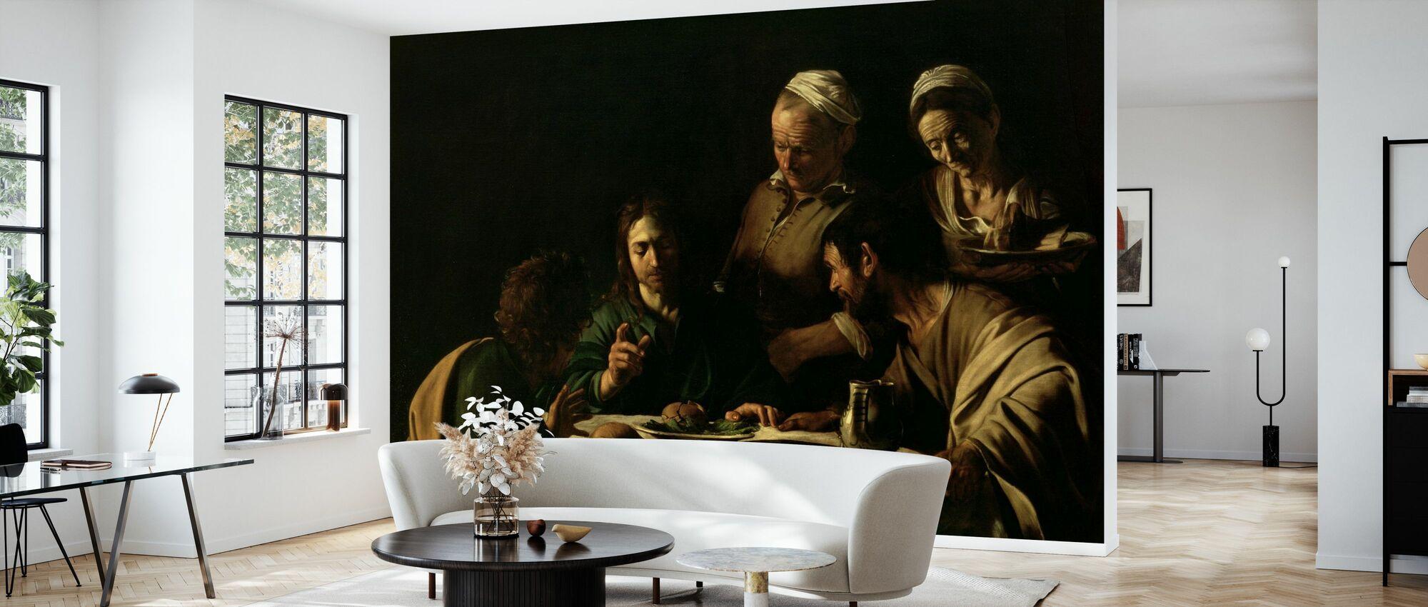 Abendessen in Emmaus - Michelangelo Caravaggio - Tapete - Wohnzimmer