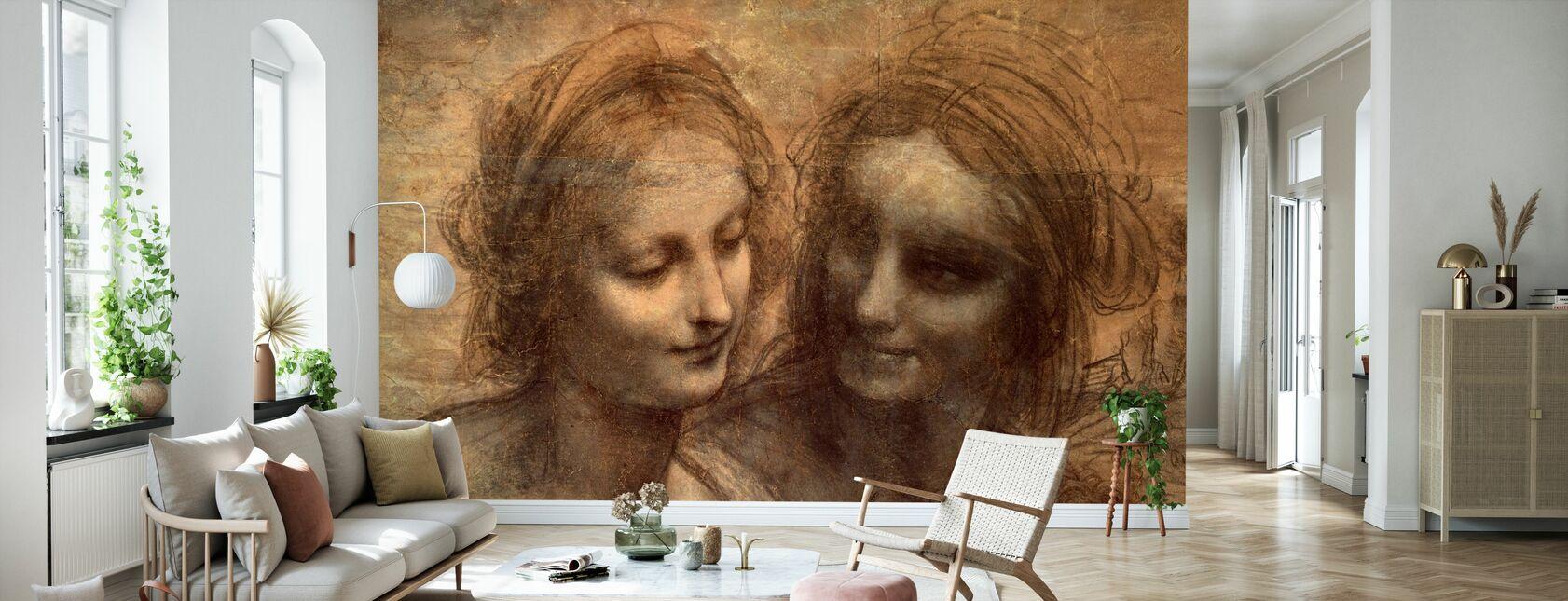 Jungfru och barn - Leonardo da Vinci - Tapet - Vardagsrum