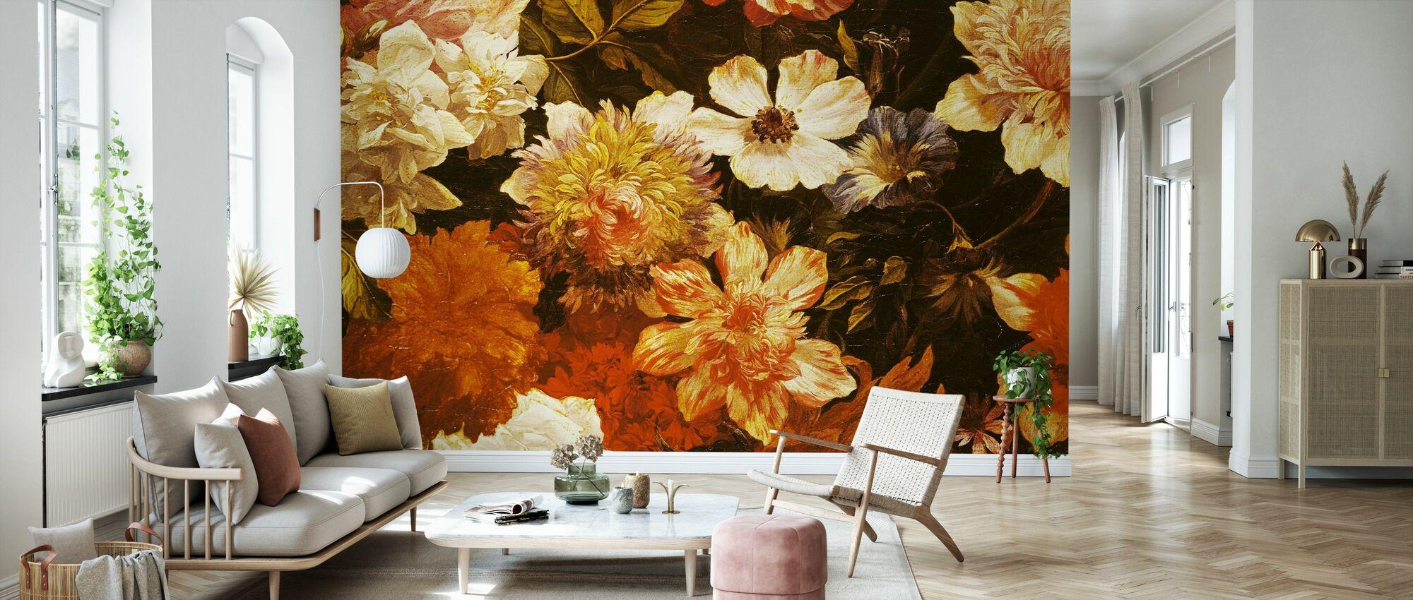 Detalj av Blomster - Michelangelo Cerquozzi - Tapet - Stue