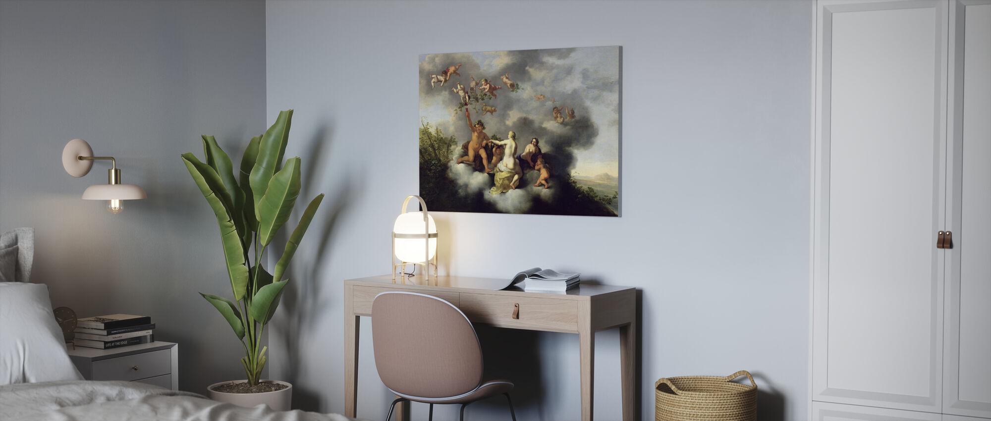 Vénus et Cupidon - Cornelis van Poelenburgh - Impression sur toile - Bureau