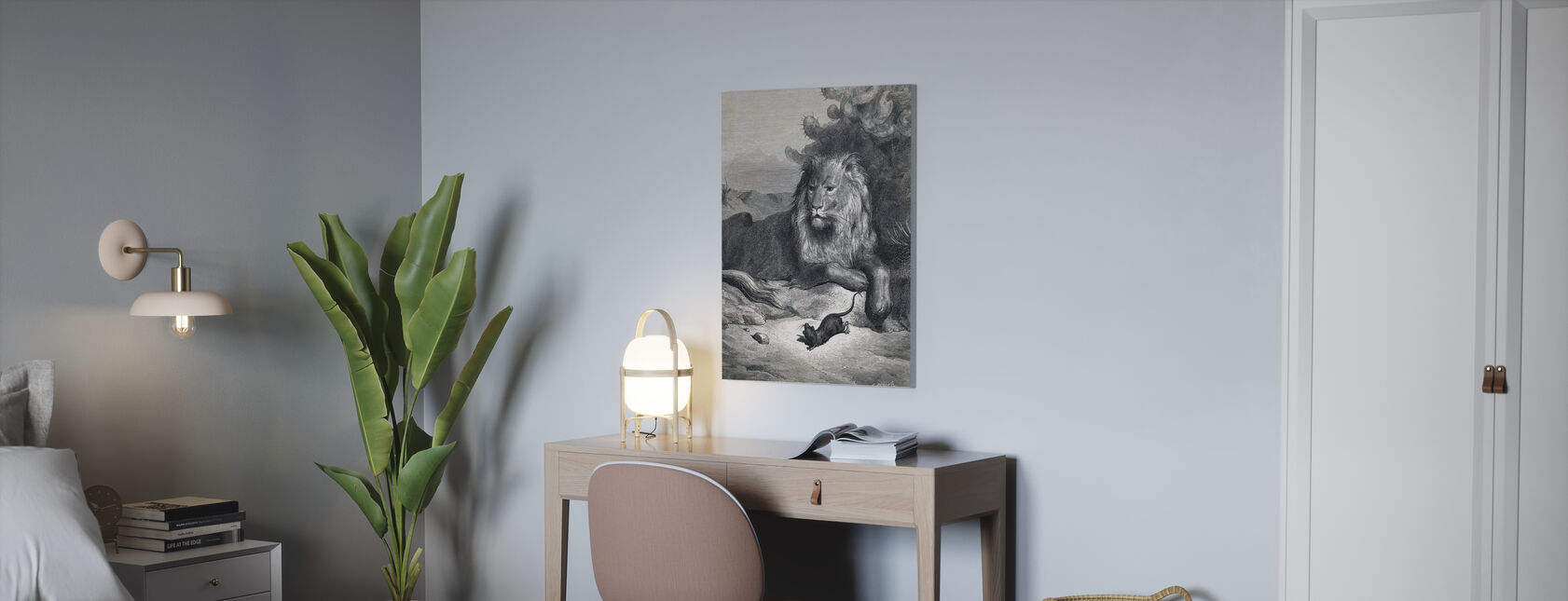 Lion and the Mouse - Gustave Dore - Canvas print - Office