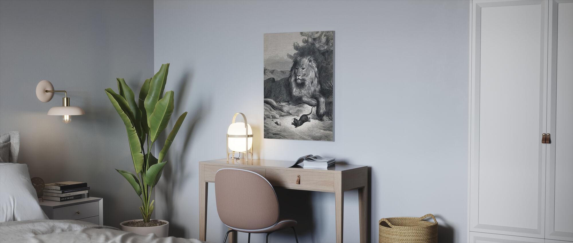 Le lion et la souris - Gustave Dore - Impression sur toile - Bureau