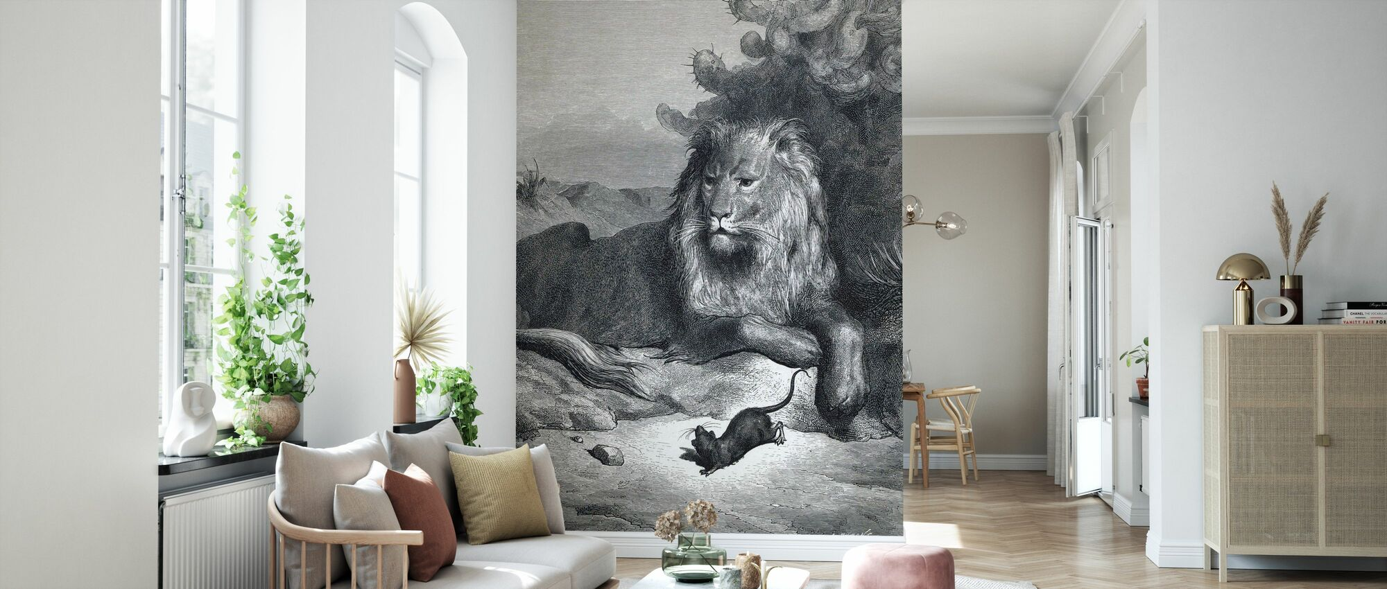 Lion and the Mouse - Gustave Dore - Wallpaper - Living Room