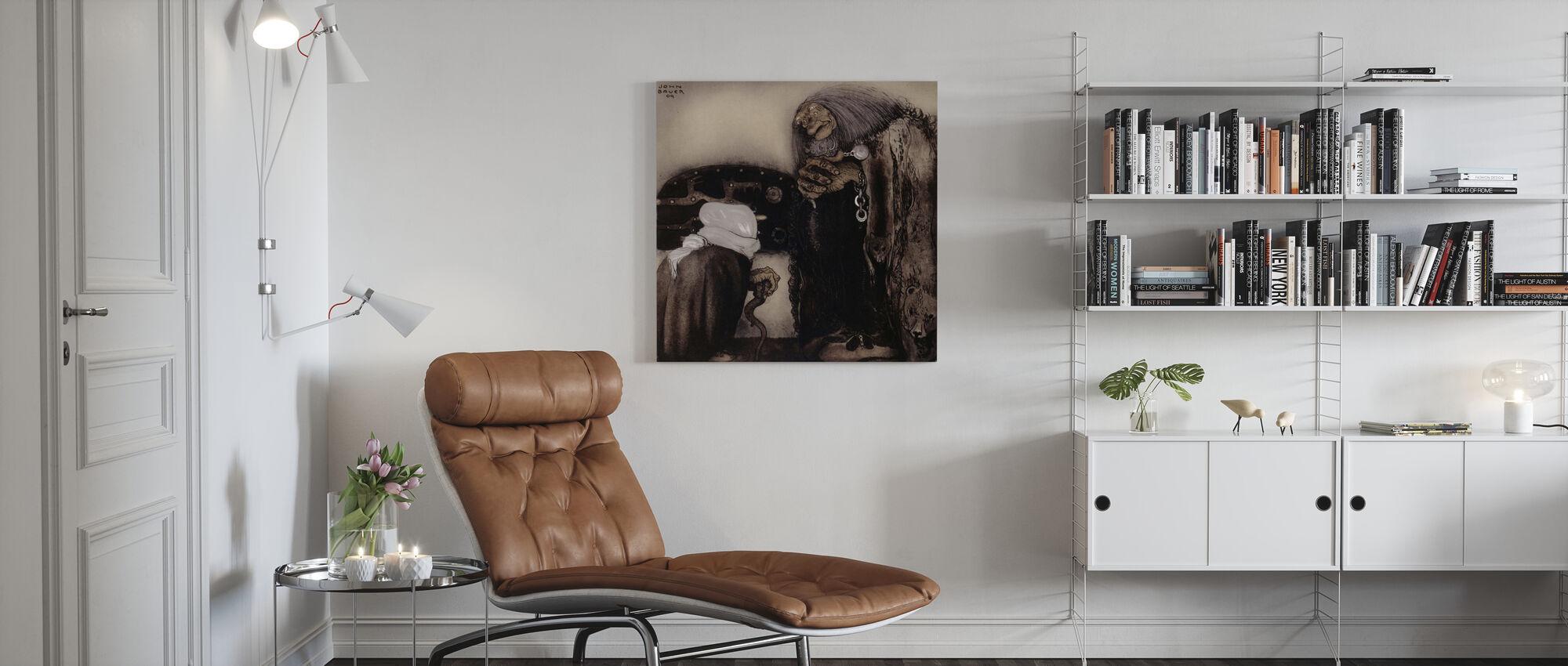 John Bauer - De fyra Stortrollen - Canvastavla - Vardagsrum