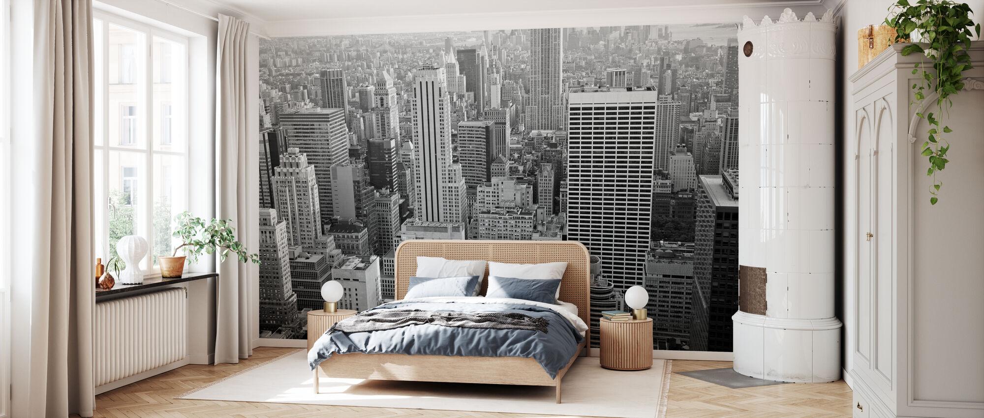 Manhattan på Skymning - b/w - Tapet - Sovrum