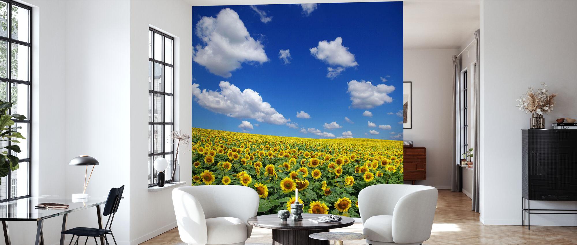 Zonnebloem veld - Behang - Woonkamer