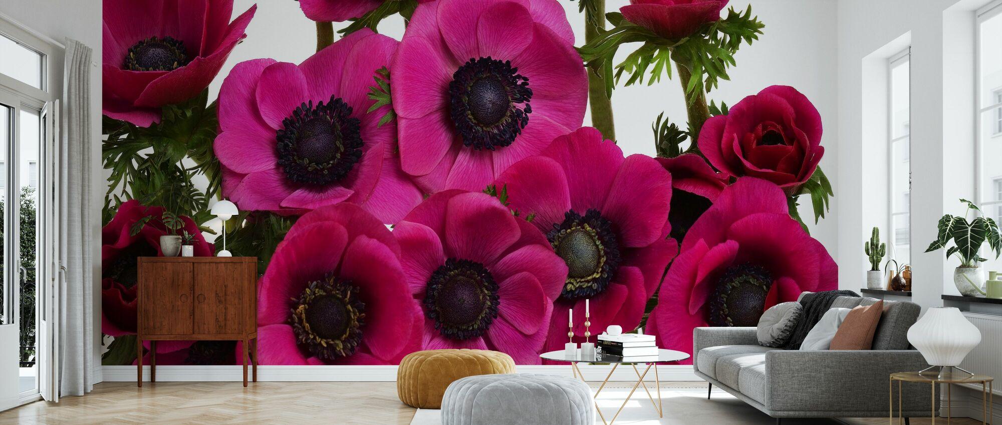 Panoramic Flowers - Pink - Wallpaper - Living Room