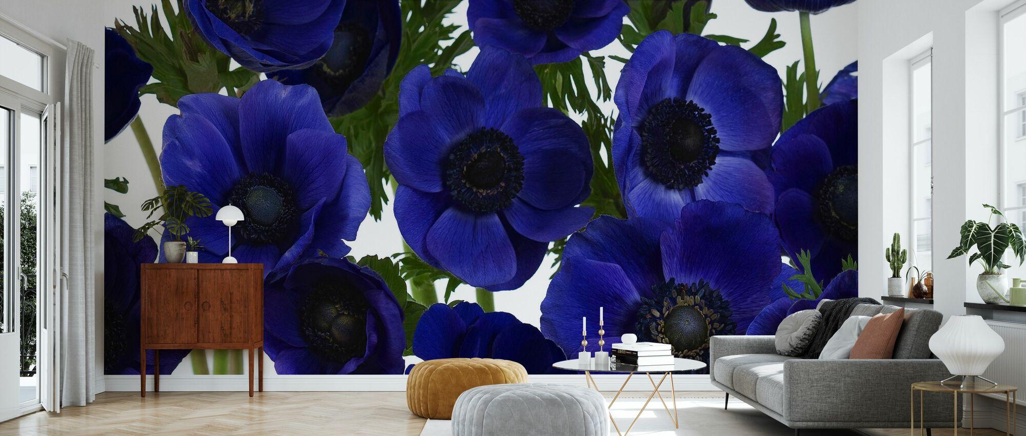 Panoramic Flowers - Blue - Wallpaper - Living Room