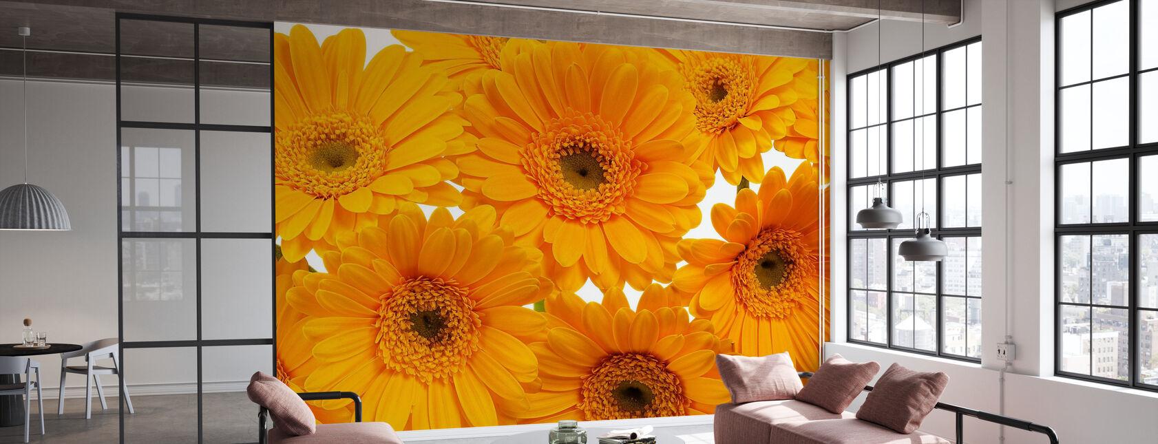 Panoramic Flowers - White - Wallpaper - Office