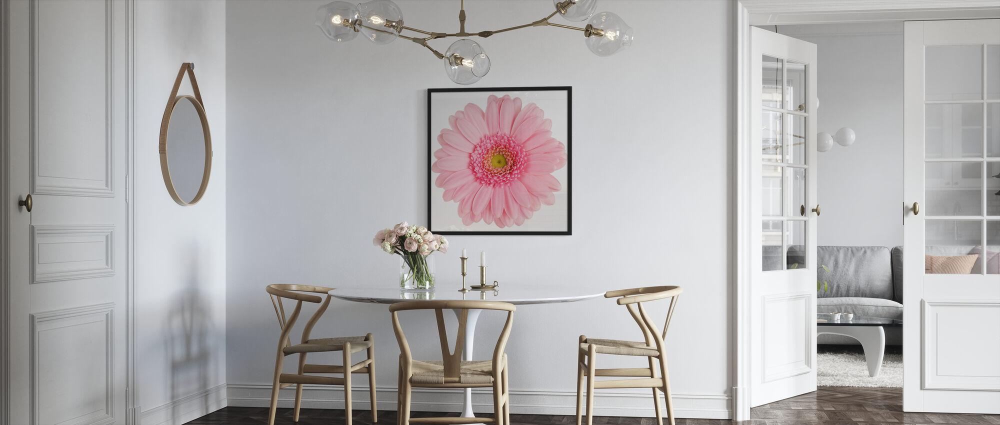 Pink Gerbera White - Framed print - Kitchen