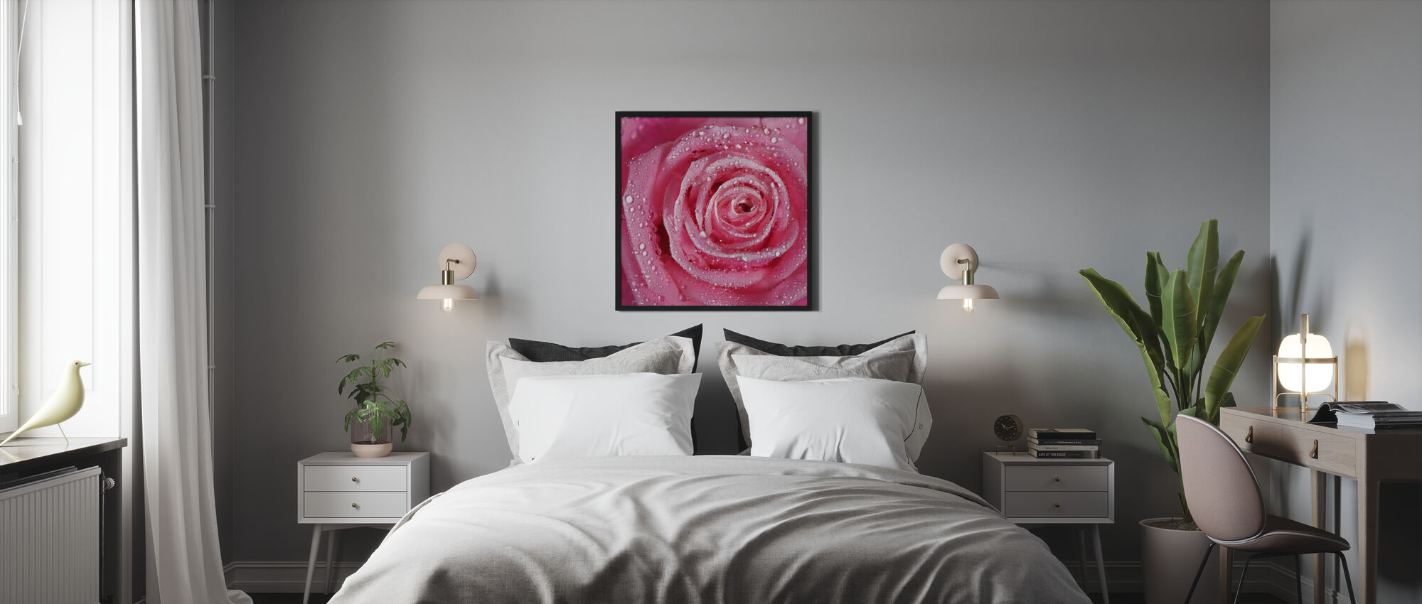 Pink Rose - Framed print - Bedroom