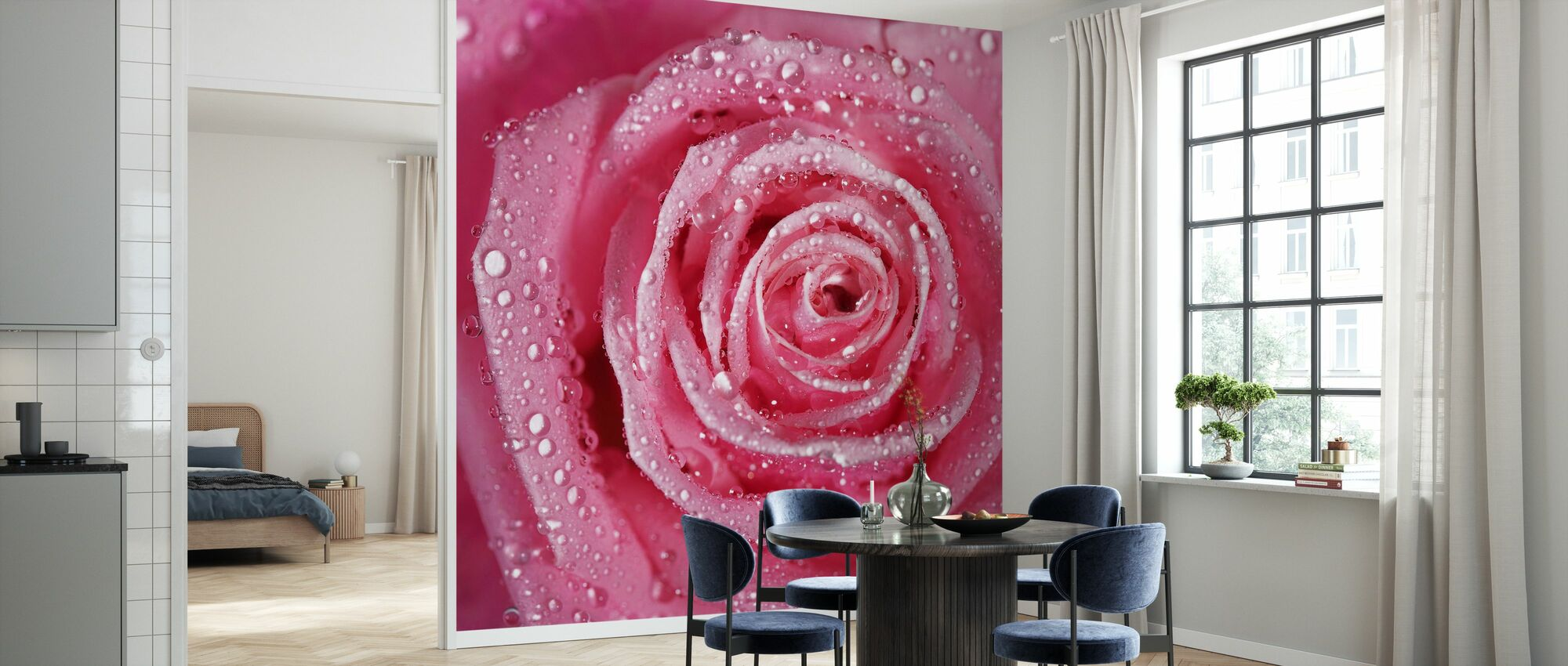 Różowa róża - Tapeta - Kuchnia