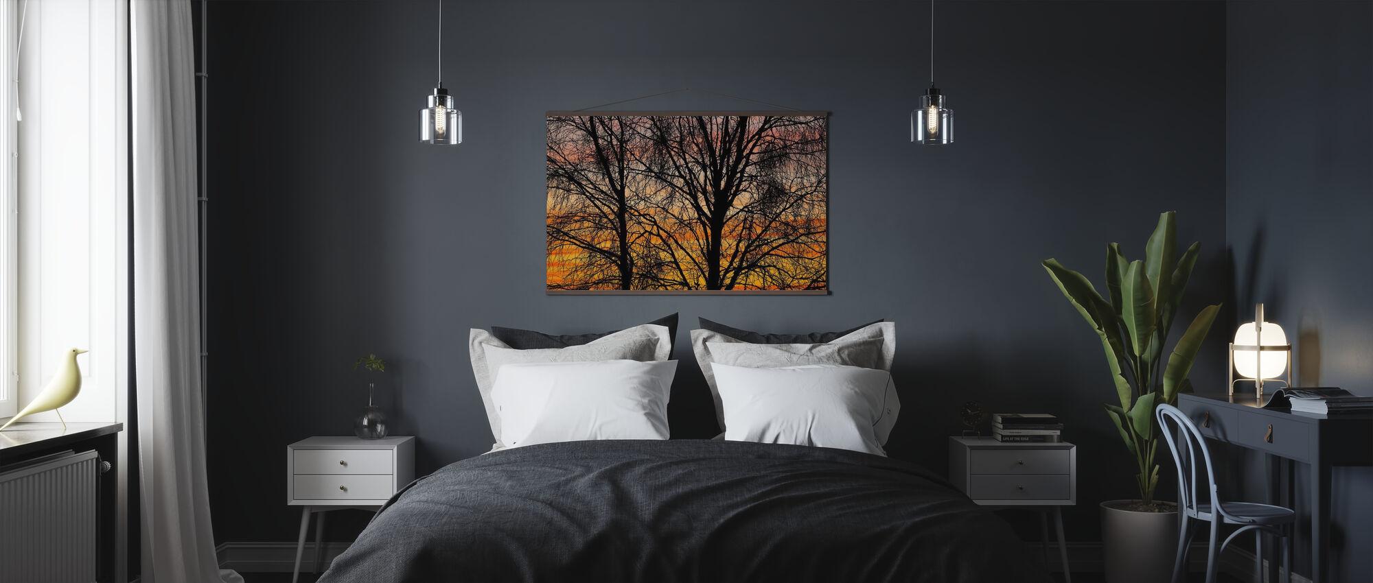 Schwarze Zweige - Poster - Schlafzimmer