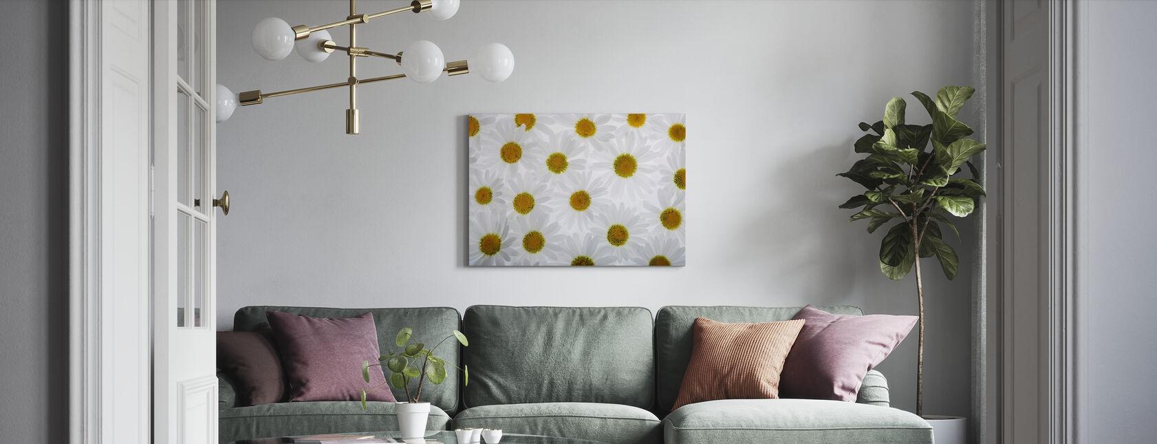 Vloer van witte bloemen - Canvas print - Woonkamer