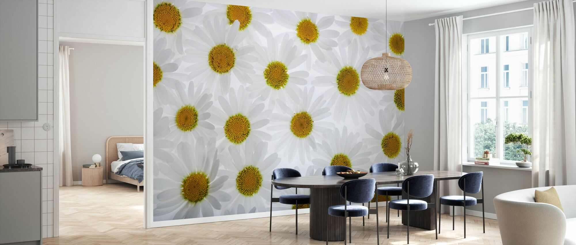 Floor of White Flowers - Wallpaper - Kitchen