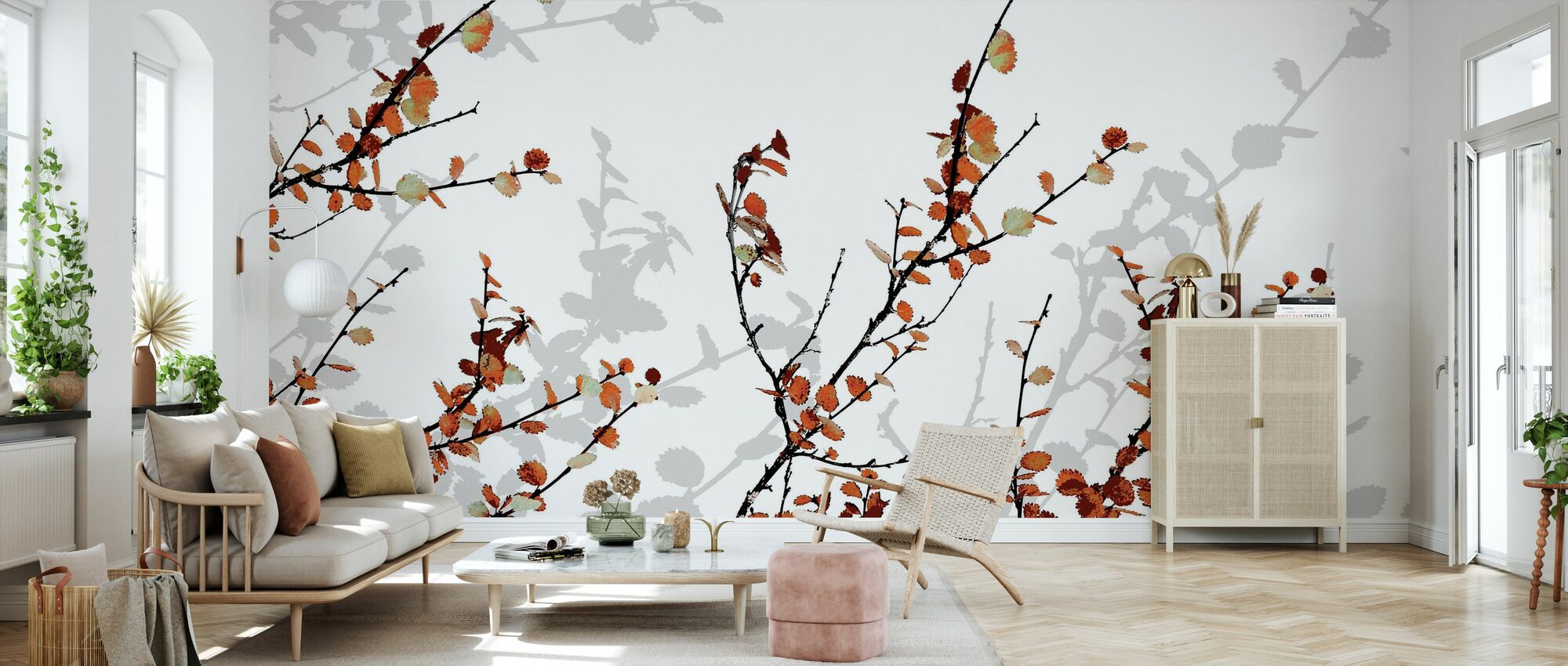 Mountain Birch Orange - Wallpaper - Living Room