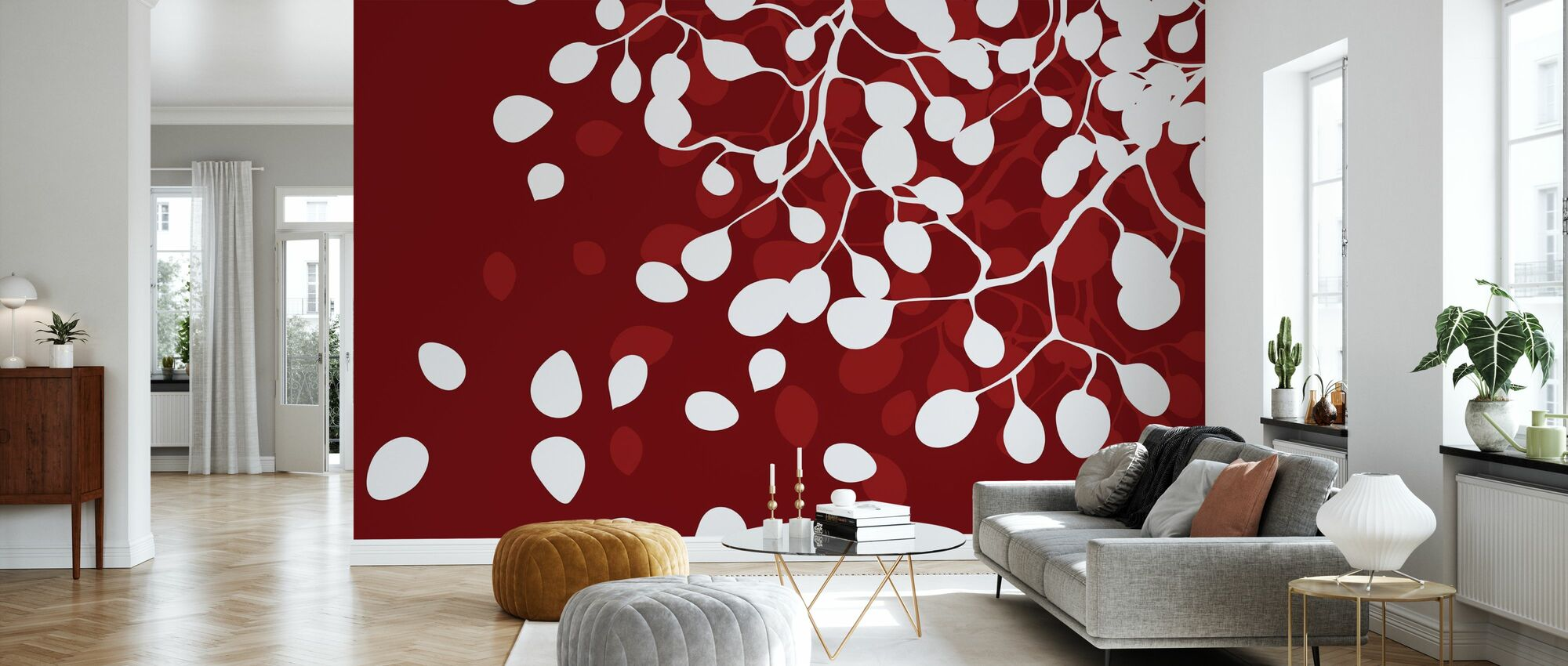 Birch - Holiday Red - Wallpaper - Living Room