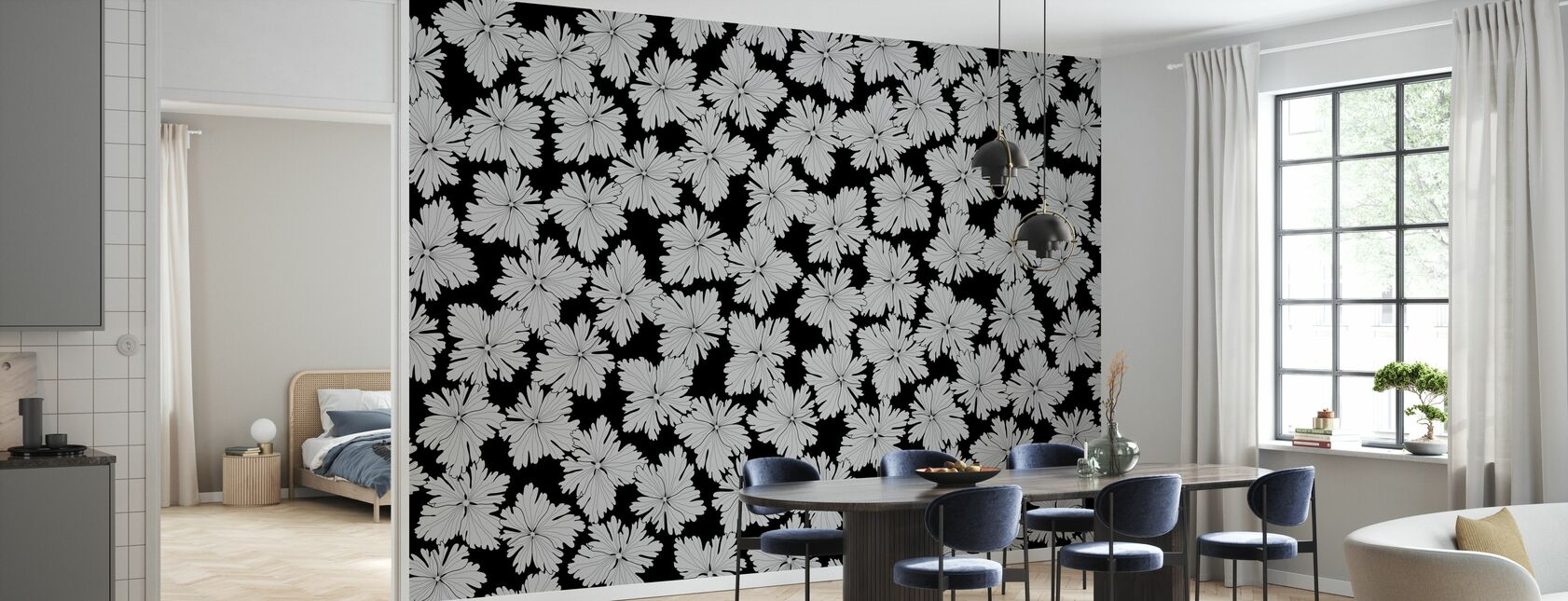 Anemonblad - Black - Wallpaper - Kitchen