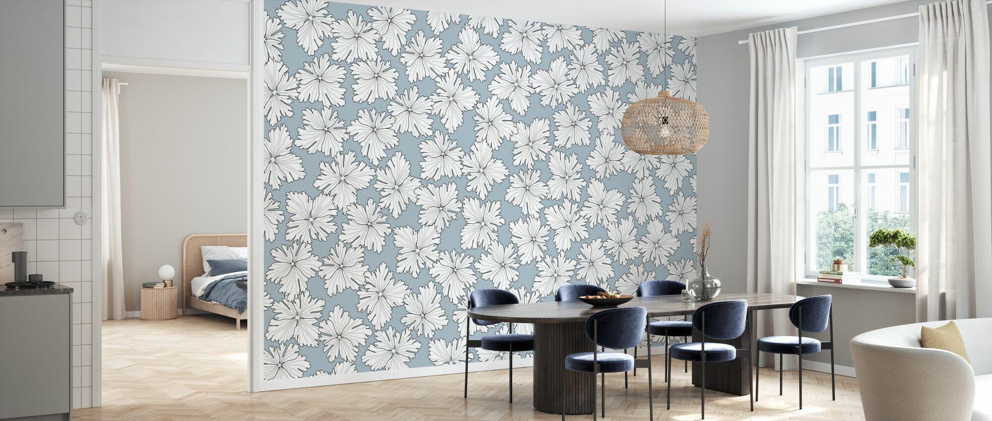 Anemonblad - Bleu - Papier peint - Cuisine
