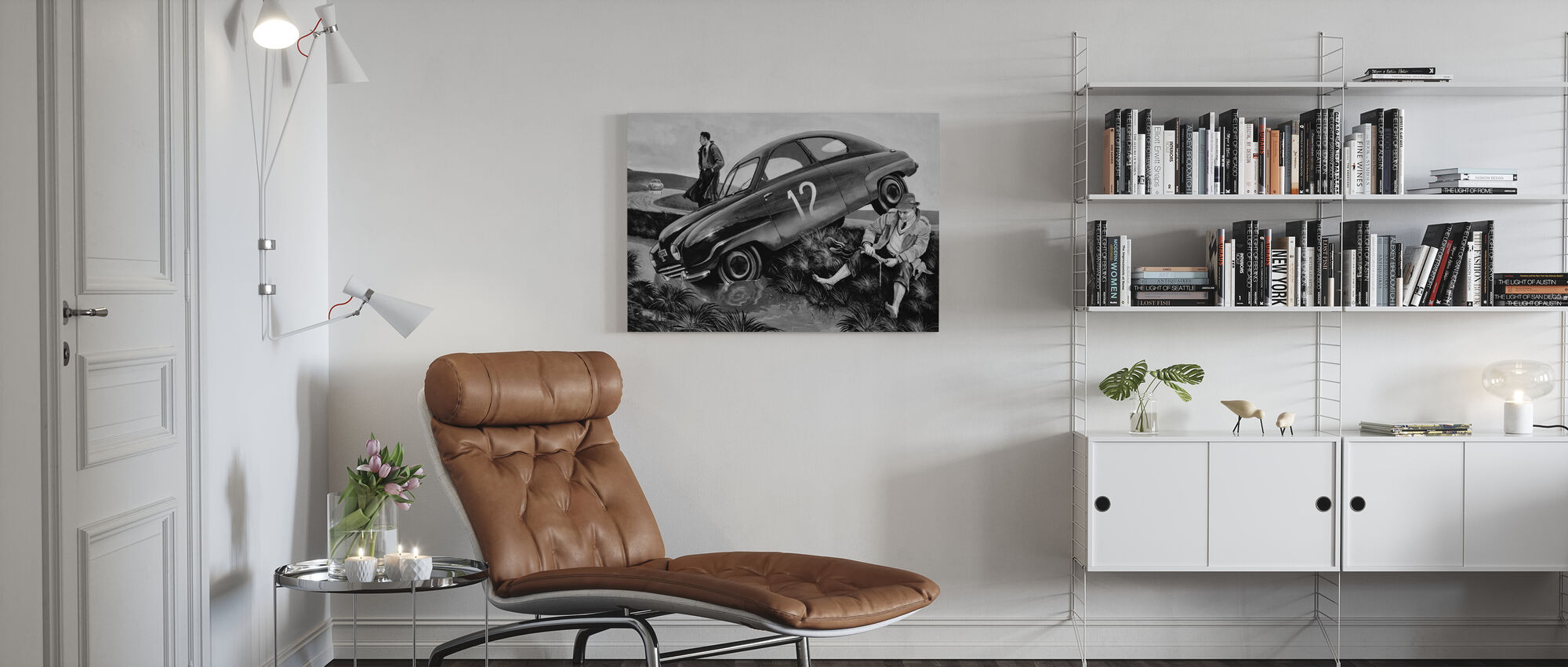 Carlsson Car BW - Canvas print - Living Room