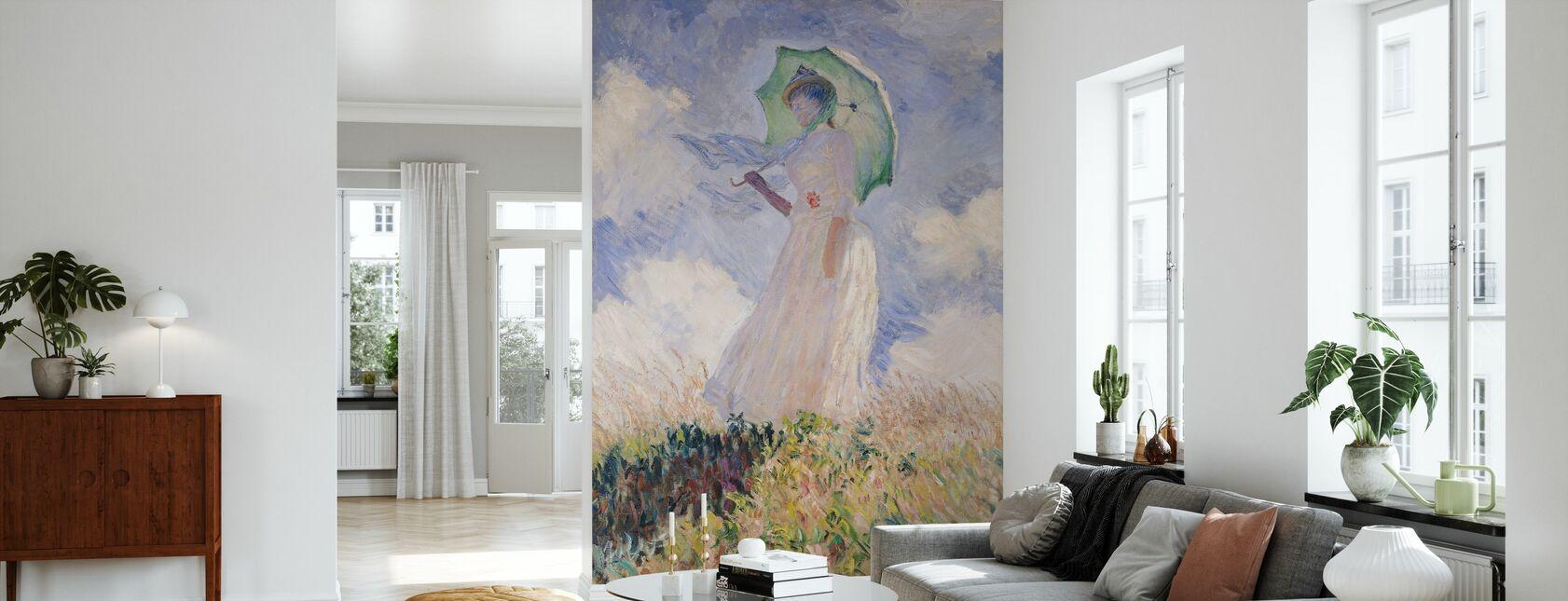 Femme avec parasol, Claude Monet - Papier peint - Salle à manger