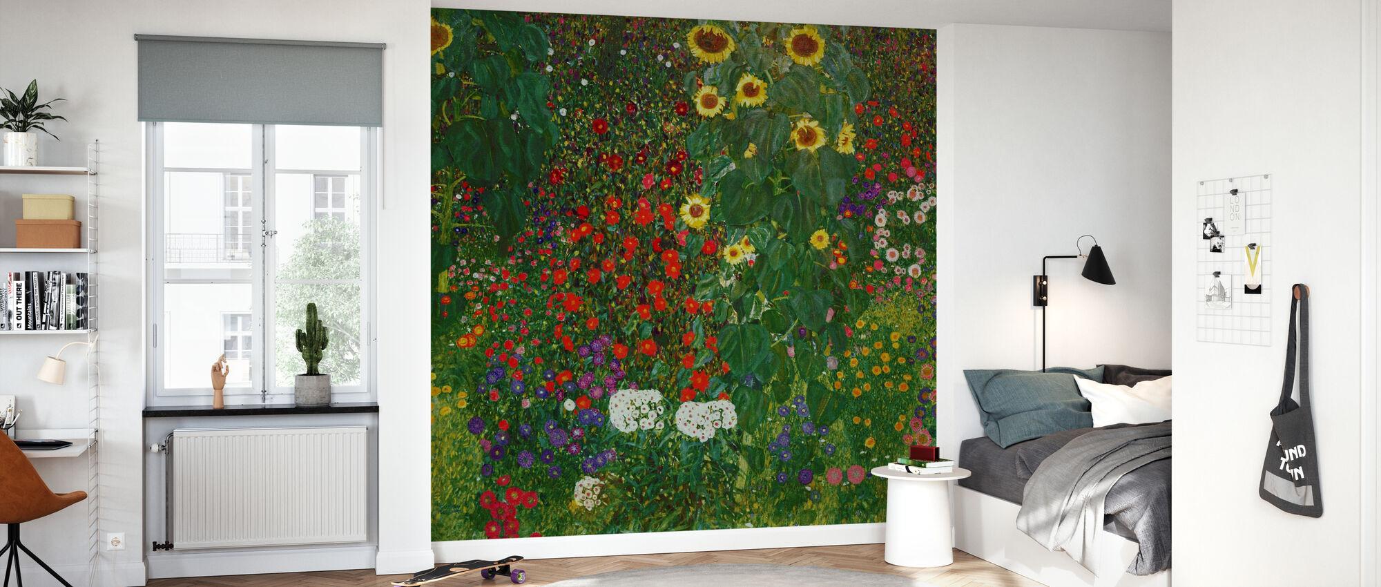 Garten mit Sonnenblumen. Gustav Klimt - Tapete - Kinderzimmer