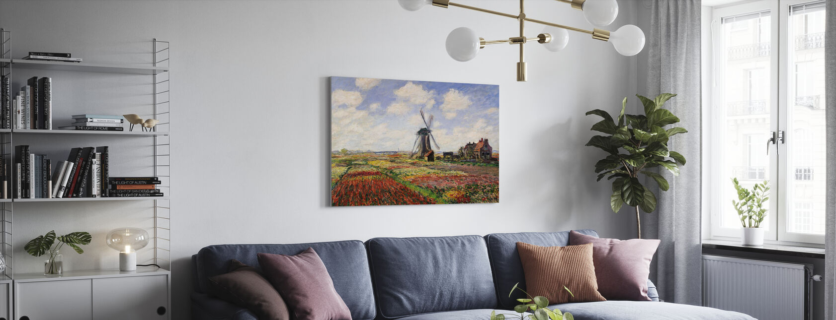 Tulip Fields, Claude Monet - Canvas print - Living Room