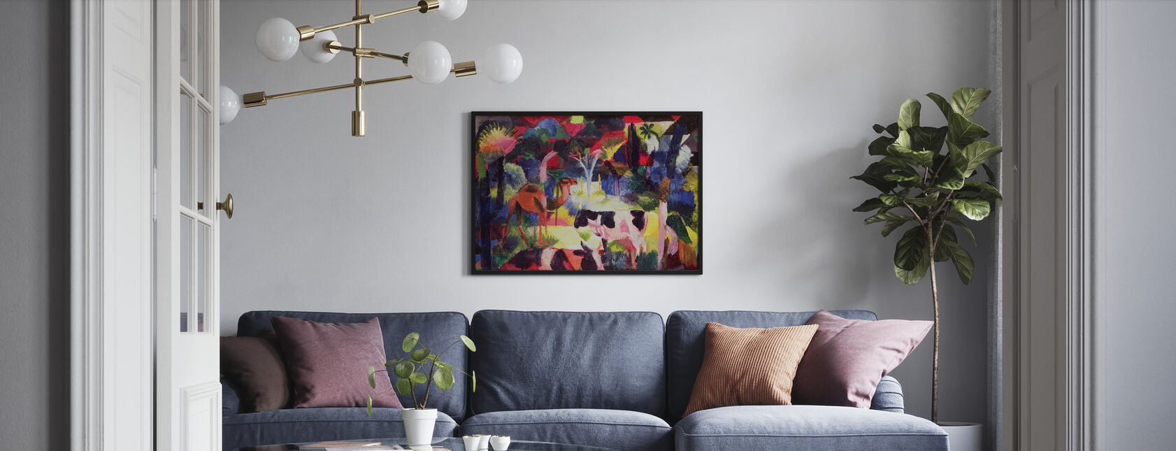 Cows and a Camel, August Macke - Framed print - Living Room