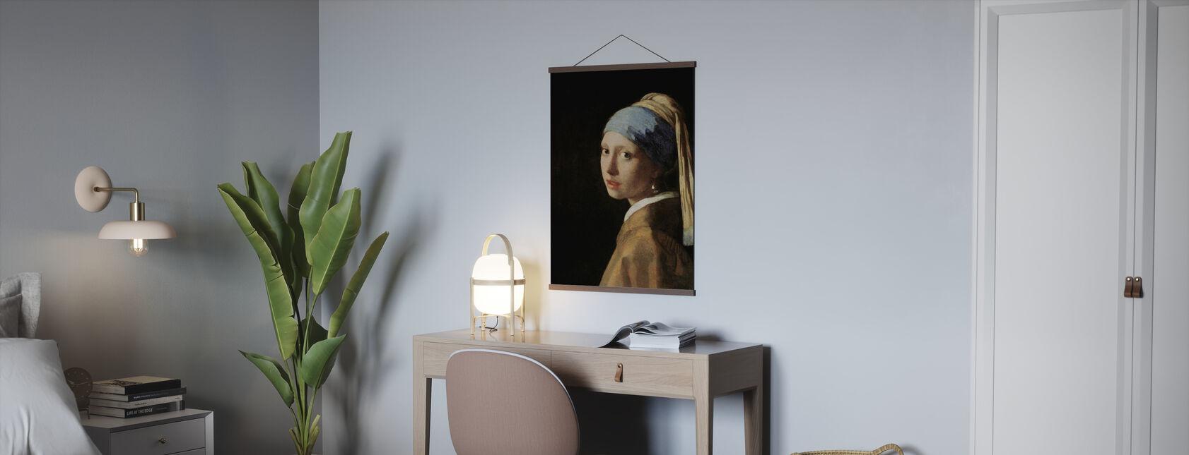 Mädchen mit einem Perlenohrring, Jan Vermeer - Poster - Büro