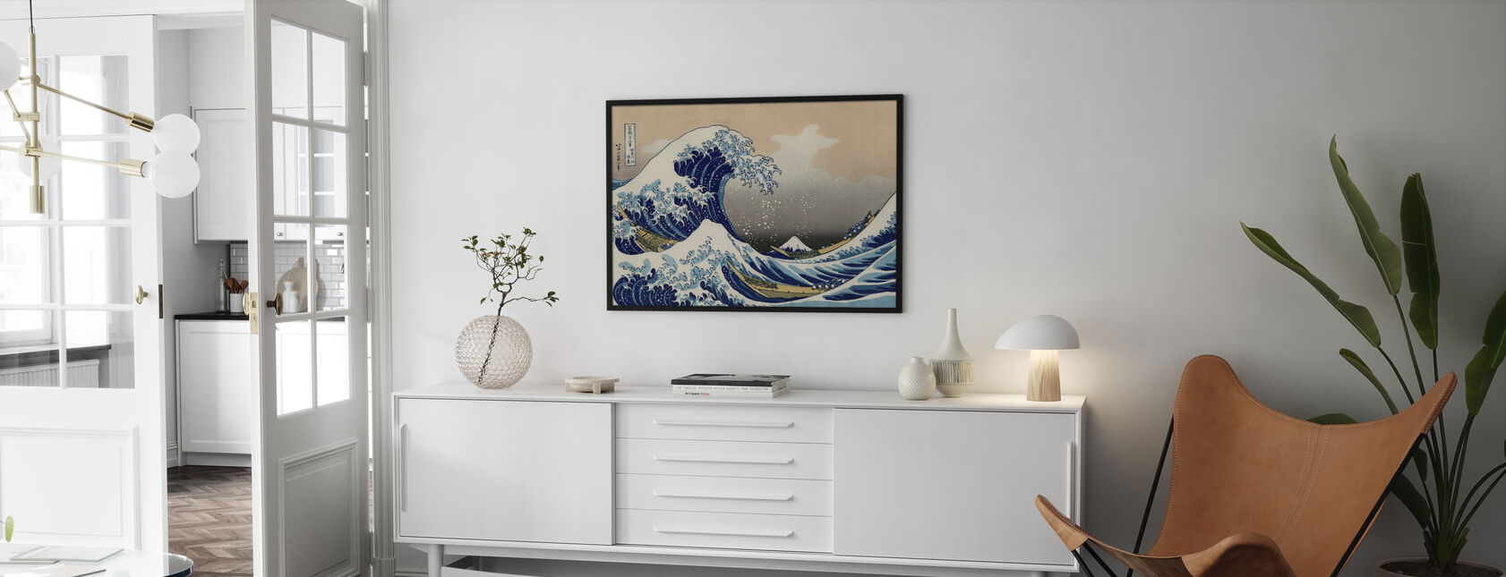 Great Wave, Katsushika Hokusai - Framed print - Living Room