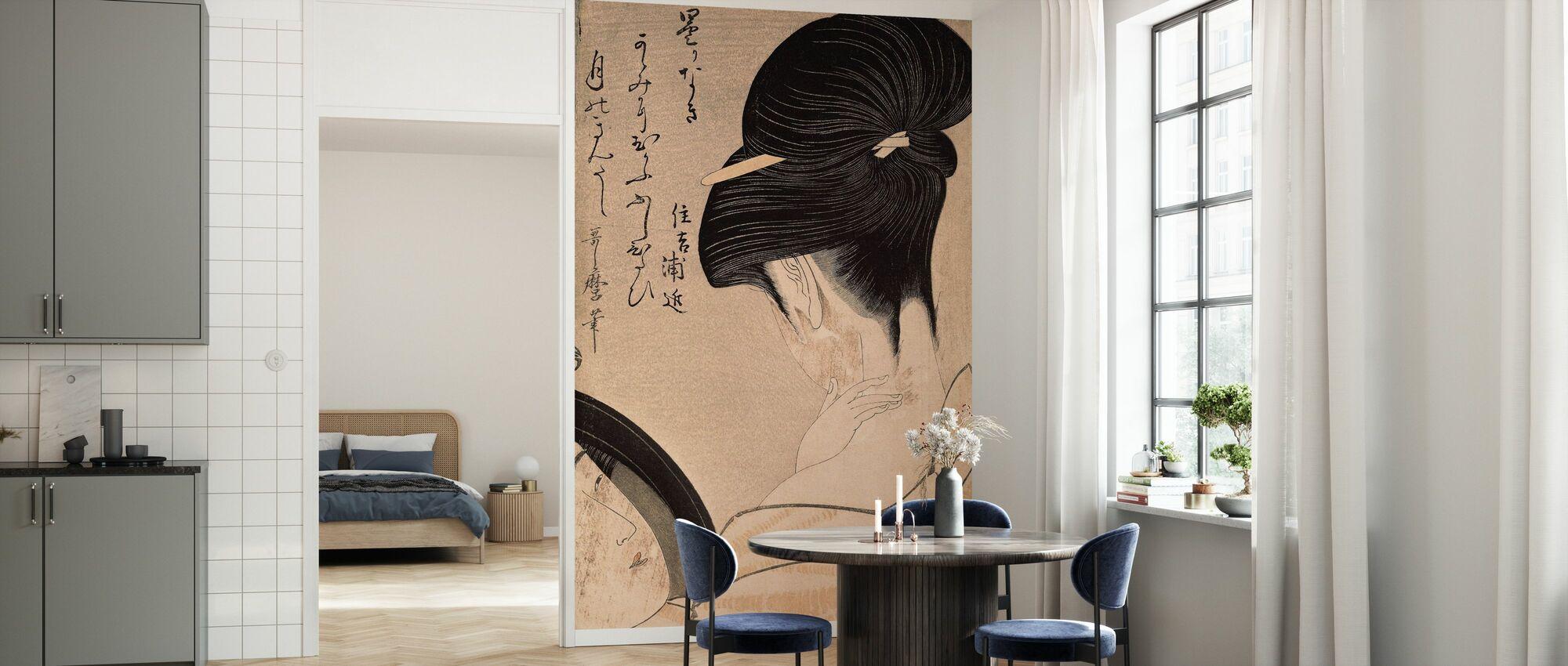 Kvinde Sætte på Make-up, Kitagawa Utamaro - Tapet - Køkken