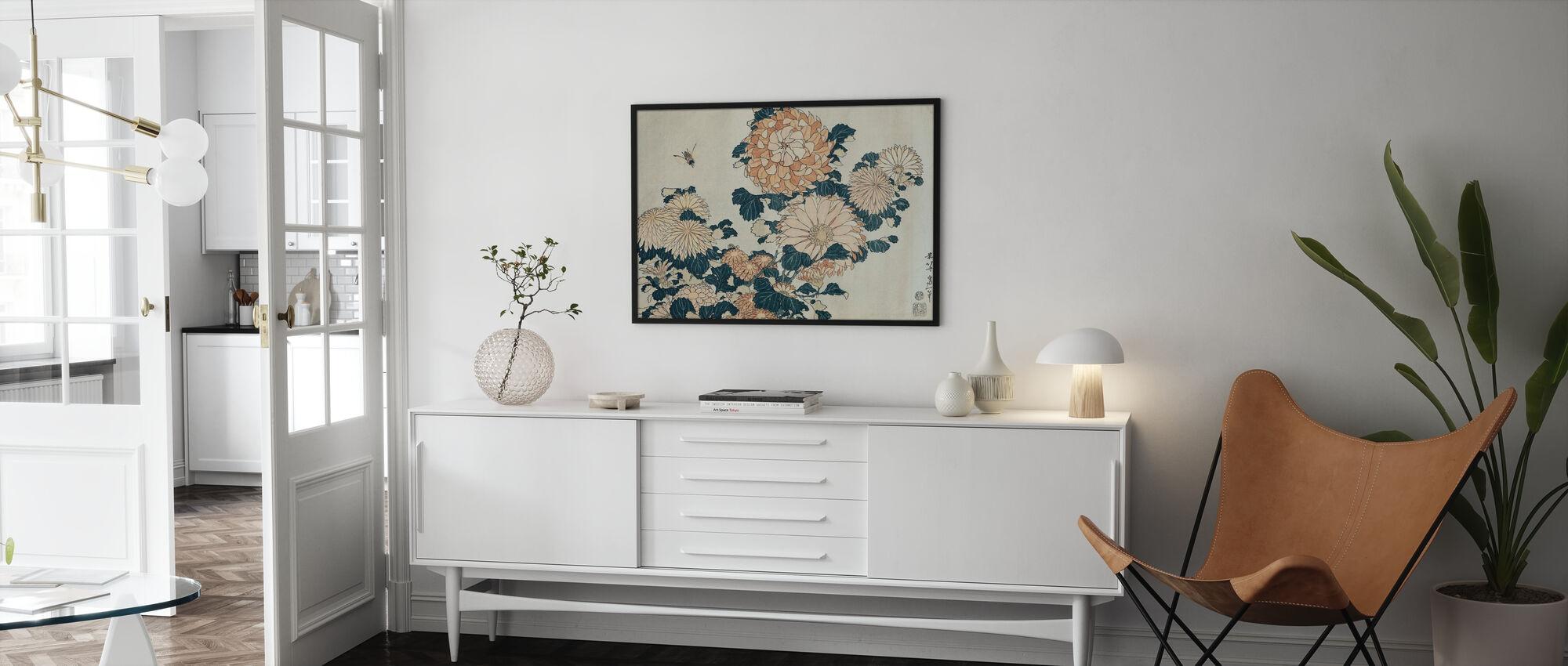 Chrysanthemums, Katsushika Hokusai - Framed print - Living Room