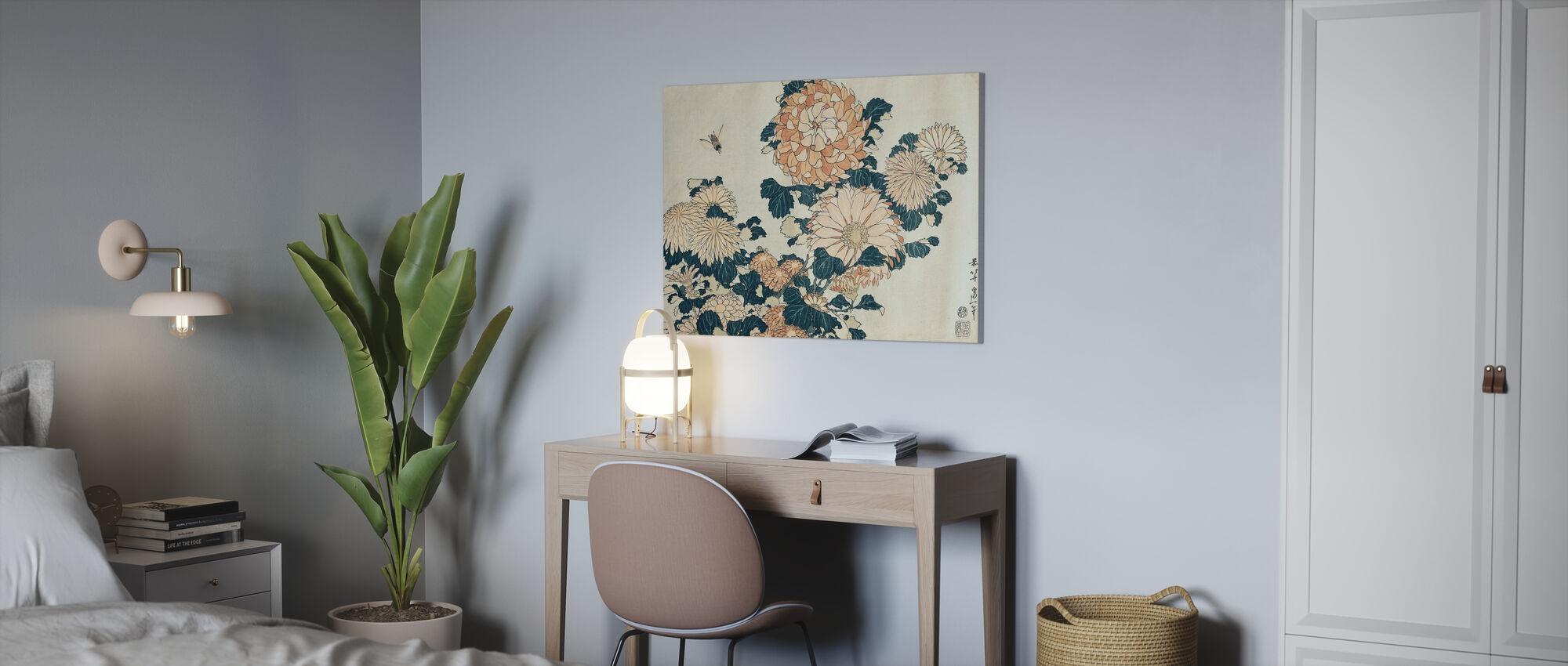 Chrysanthemums, Katsushika Hokusai - Canvas print - Office