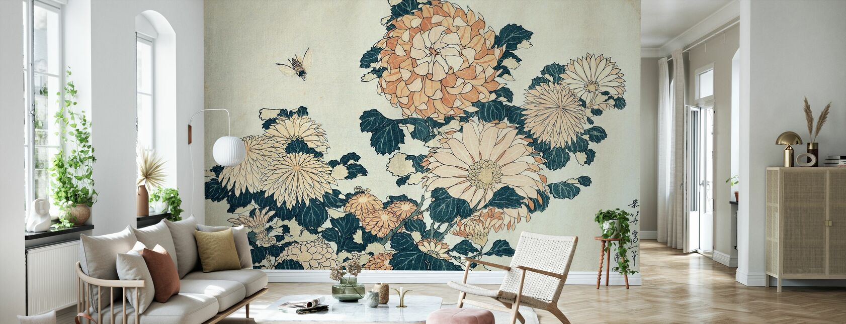 Chrysanthemums, Katsushika Hokusai - Wallpaper - Living Room
