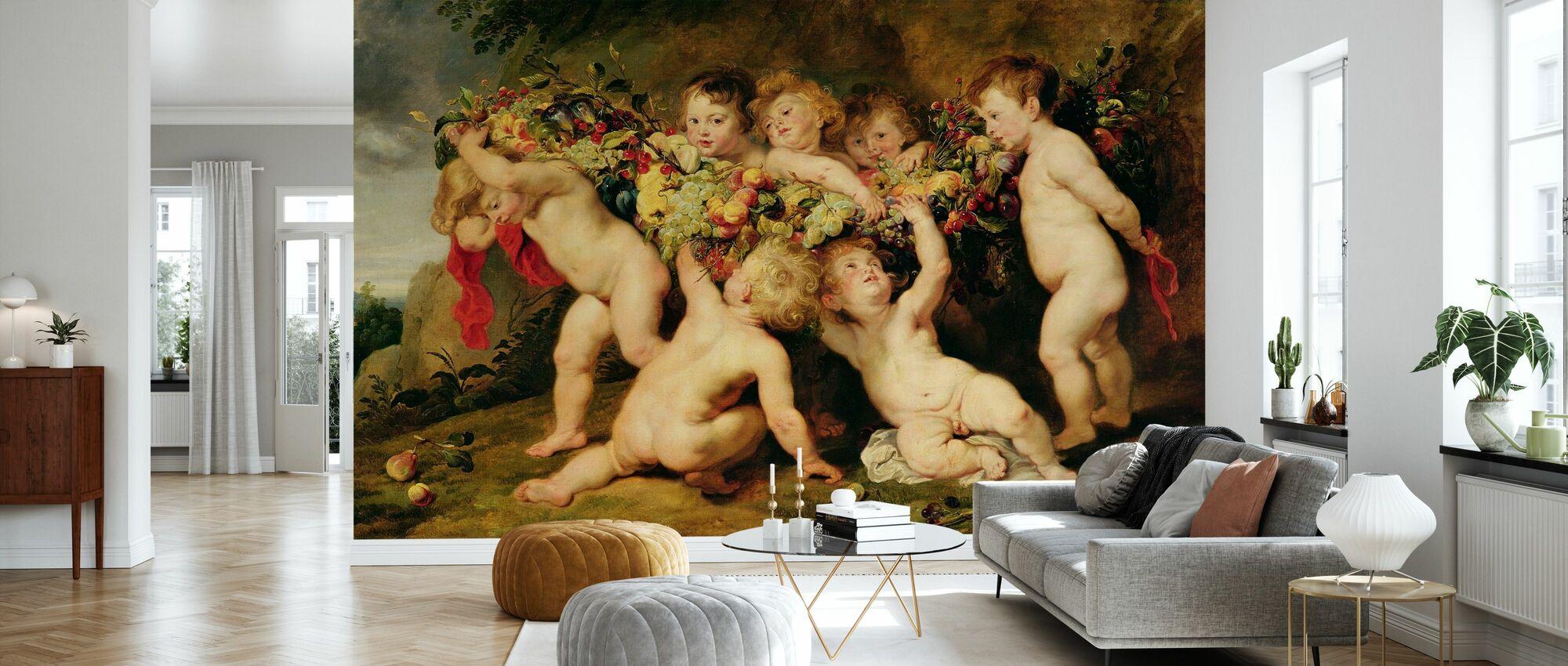 Garland av frukt, Peter Paul Rubens - Tapet - Stue