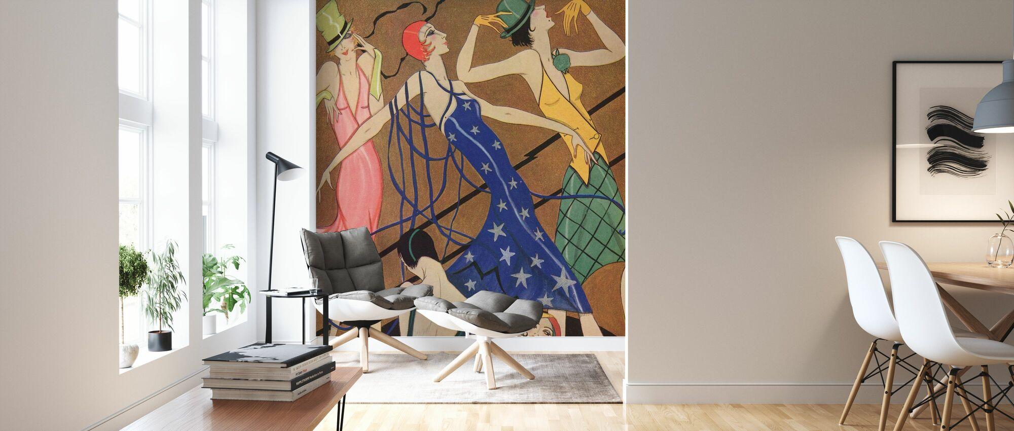 Models in Partykleider, Gordon Conway - Tapete - Wohnzimmer