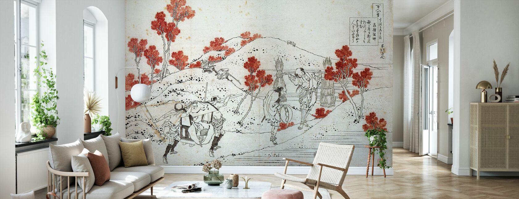 Porters bære en Palanquin, Katsushika Hokusai - Tapet - Stue