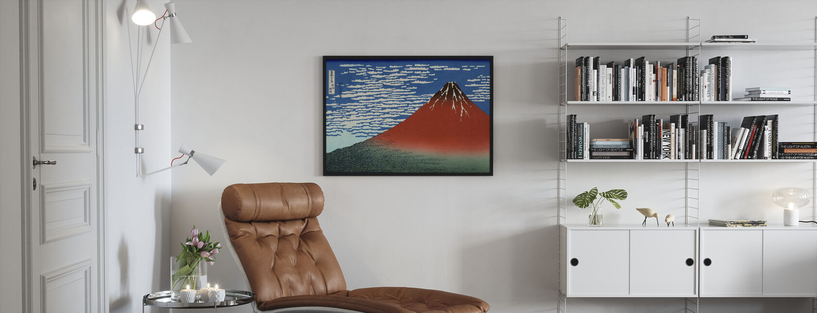 Red Fuji, Katsushika Hokusai - Framed print - Living Room