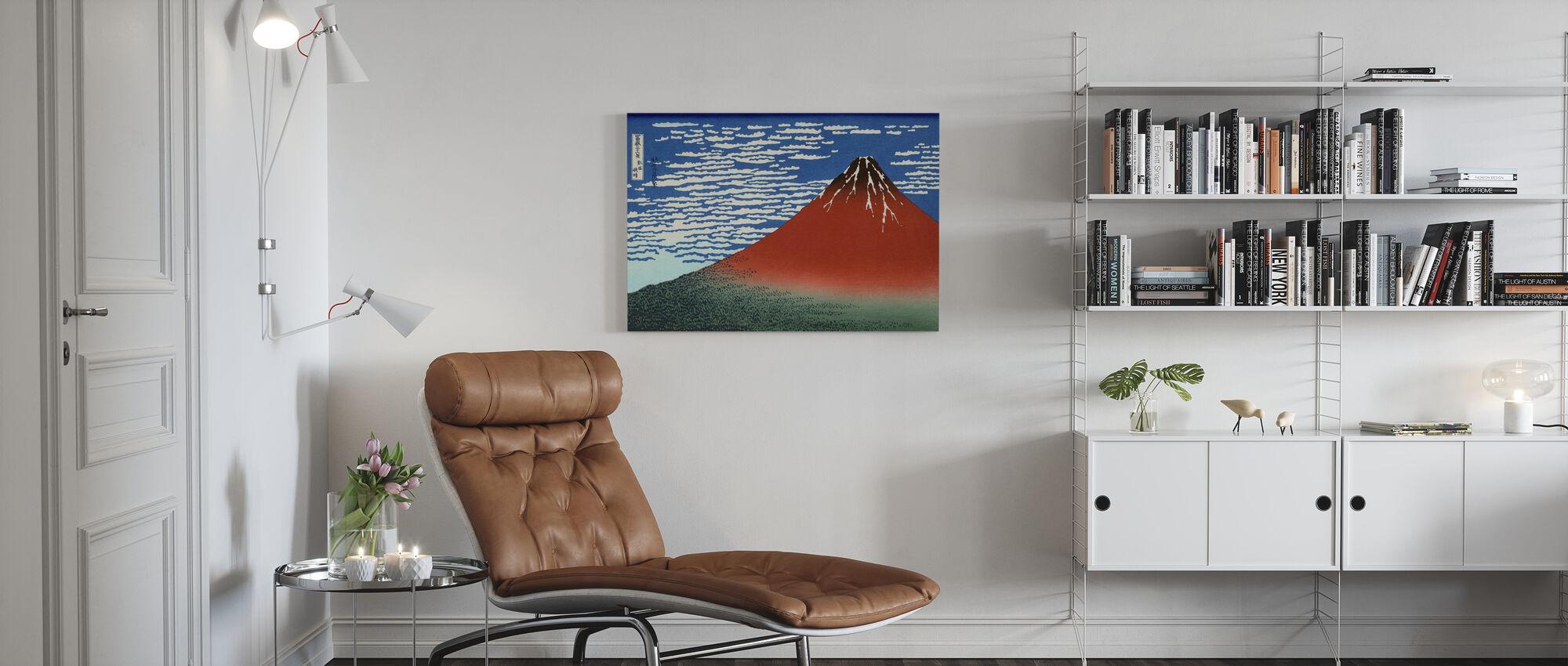 Red Fuji, Katsushika Hokusai - Canvas print - Living Room