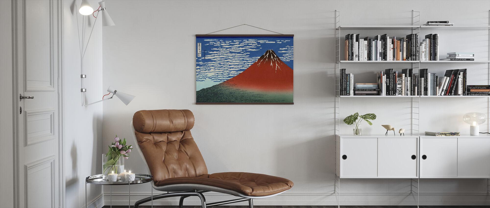 Rosso Fuji, Katsushika Hokusai - Poster - Salotto