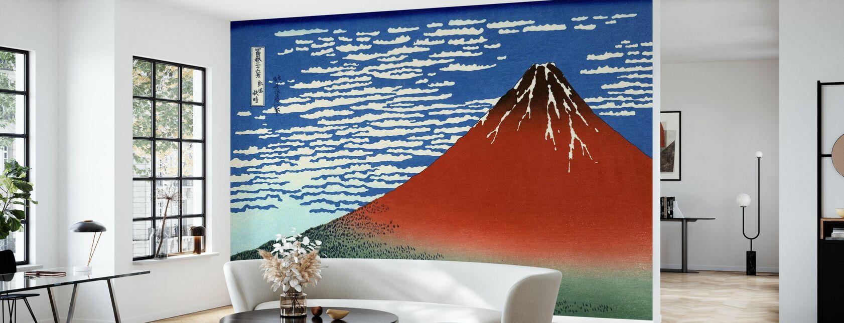 Red Fuji, Katsushika Hokusai - Tapetti - Olohuone