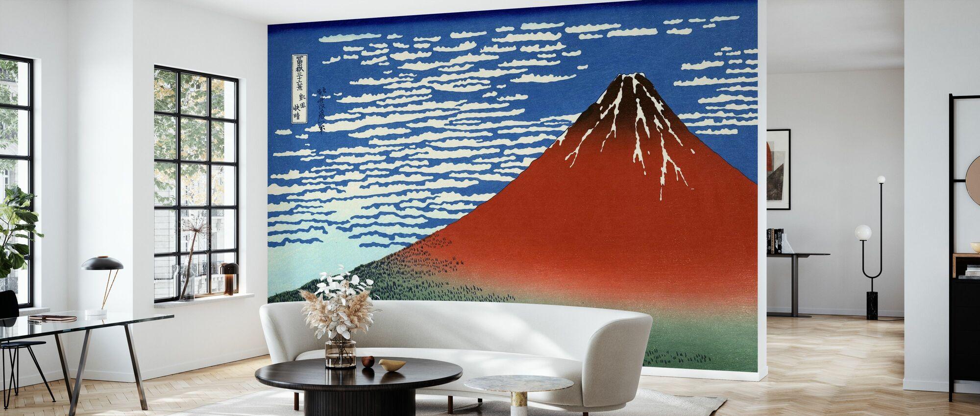 Red Fuji, Katsushika Hokusai - Wallpaper - Living Room