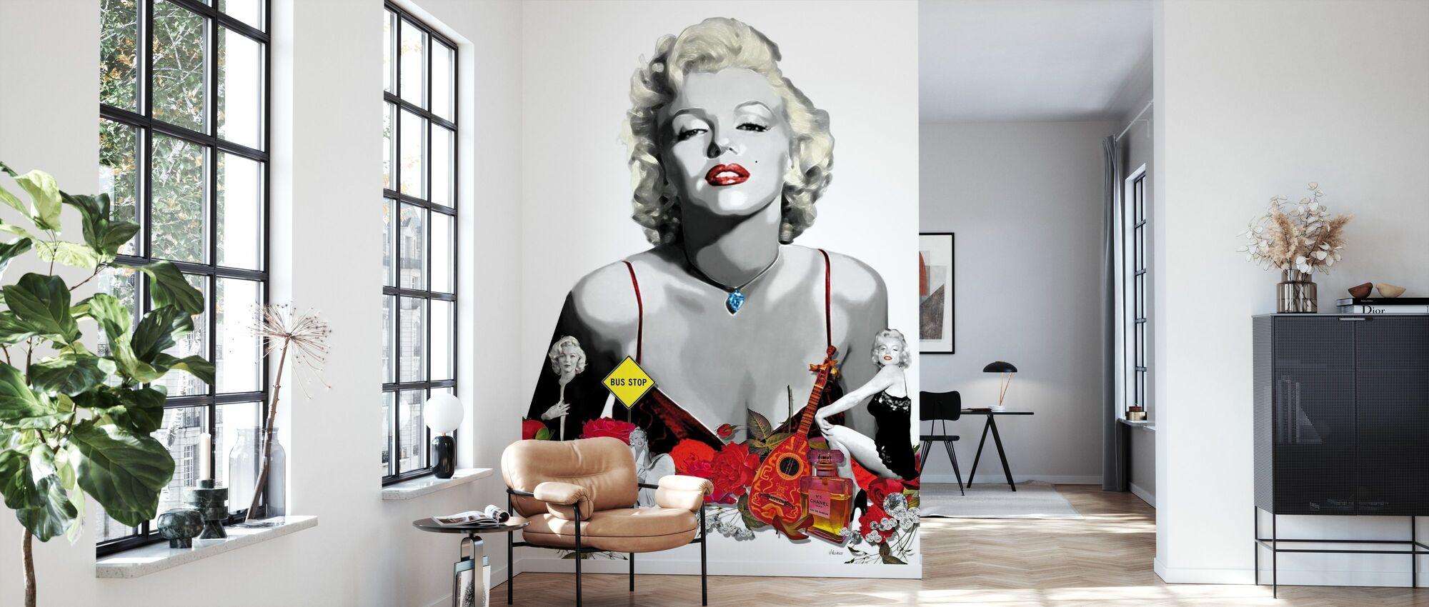 Monroe - Weiß - Tapete - Wohnzimmer