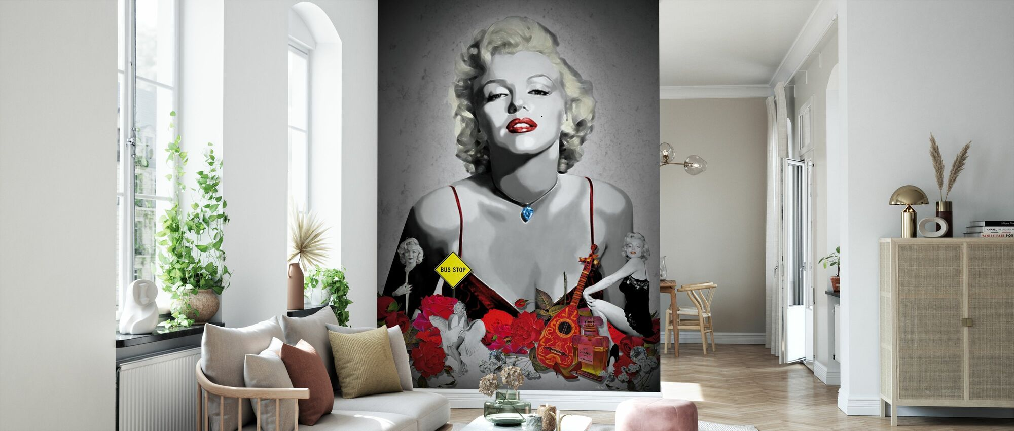 Monroe - Black - Wallpaper - Living Room