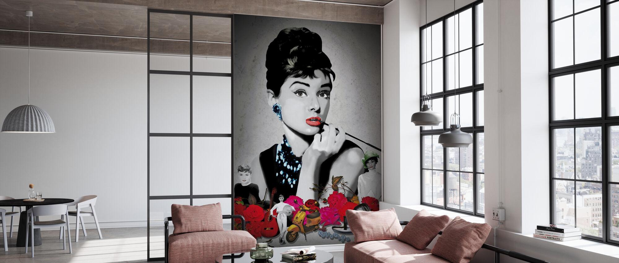 Hepburn - Black - Wallpaper - Office