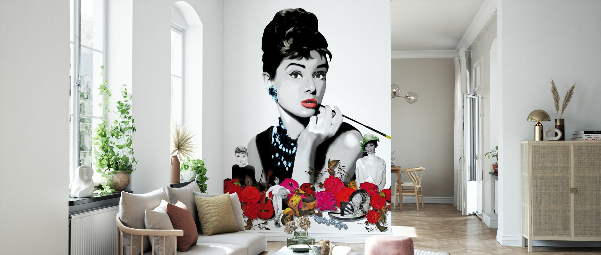 Hepburn - White - Wallpaper - Living Room