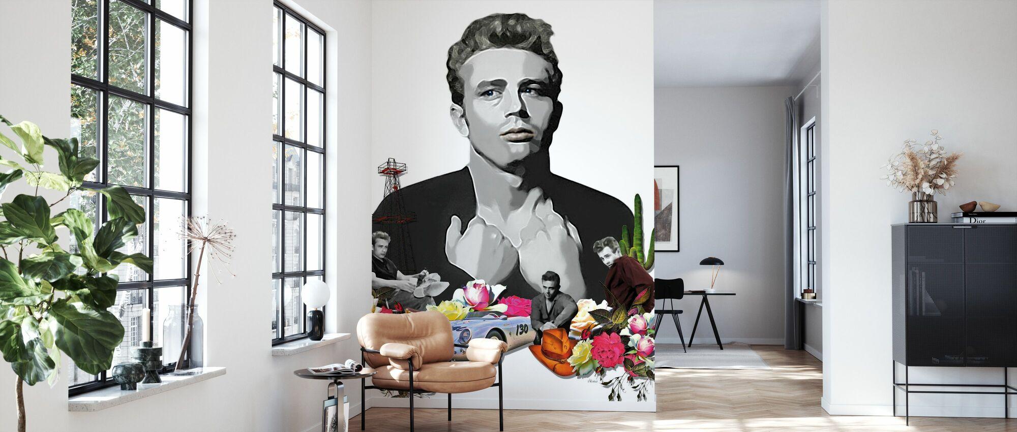 Dean - White - Wallpaper - Living Room