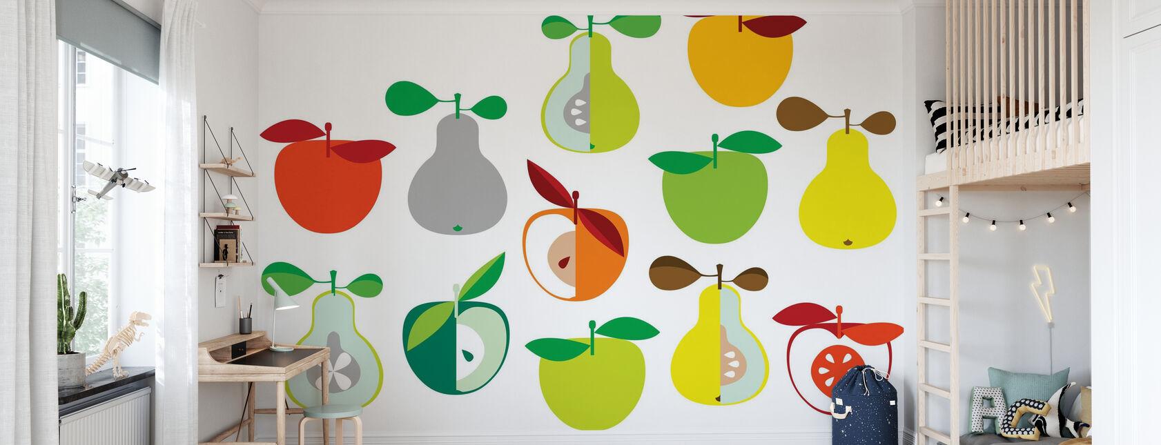 Kivik Apple and Pear - White - Wallpaper - Kids Room