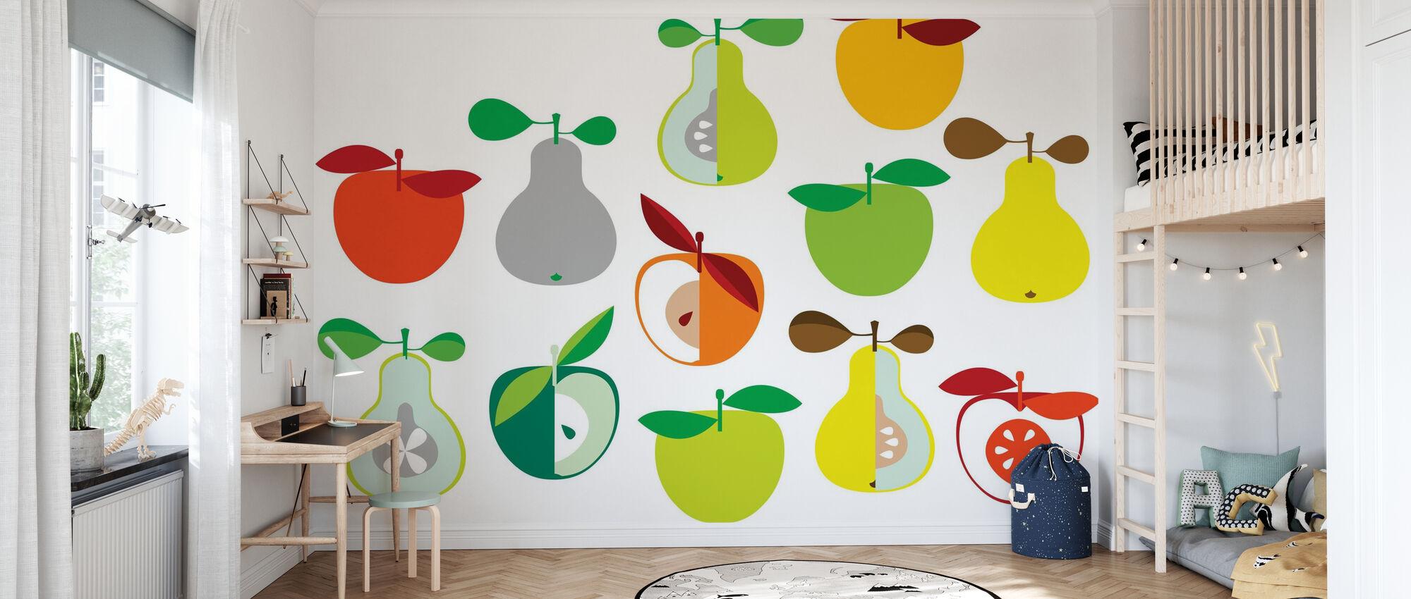 Kivik Apfel und Birne - Weiß - Tapete - Kinderzimmer
